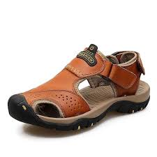 New <b>Mens Casual Leather</b> Sandals <b>Breathable</b> Flat Closed Toe ...