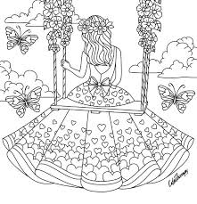 Girl Sitting On A Swing Coloring Page Coloring Pages Heart