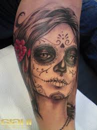 Black Santa Muerte Girl With A Red Rose In Hair Tattoo Tattoos тату