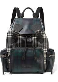 burberry leather trimmed checked coated canvas backpack