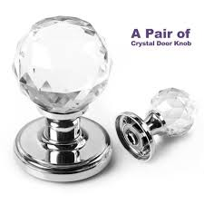 BTSKYTM A Pair of 65mm Clear Extra Large Crystal Glass Door Knob