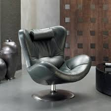contemporary armchair fabric leather swivel sound