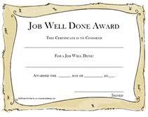 Good Job Template Printable Job Well Done Award Certificates Templates
