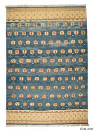 light blue new turkish kilim rug miletus