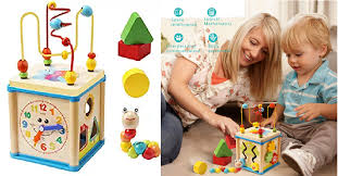 lualua baby toys for 1 year old educational wooden bead maze shape sorter activity cube gifts 15 49