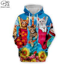 Christmas Hoodies Men Women Pullovers Animal Print <b>Cute Cat</b> 3D ...