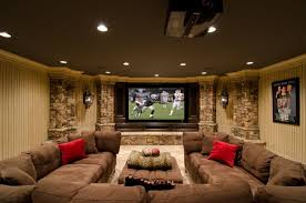 basement home theater.  Home Basement Home Theater With Comfy Seat In