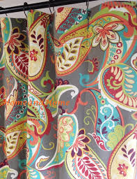 custom fabric shower curtain whimsy paisley mardi gras plum yellow green extra long extra wide 72