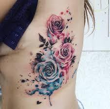 цветная тату растения цветы роза на спину бок голову руку для