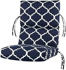 highback outdoor chair cushion high back outdoor chair cushion from home decorators navy and white pattern