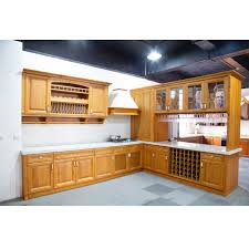 China American Cherry Kitchen Cabinet In Yellow With Wine Bar