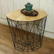 retro black metal wire round wood top