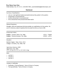 Nutritionist Resume Template