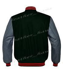faux leather sleeve letterman college varsity kid wool