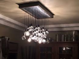 hand crafted wood and metal hanging bulb chandelier light fixture custom lights over stairs