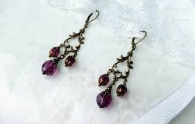 long vintage chandelier earrings wine color with faceted beads victorian jewelry box