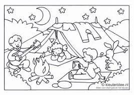 Kleurplaat Camping Voor Kleuters Thema Kamperen Kleuterideenl