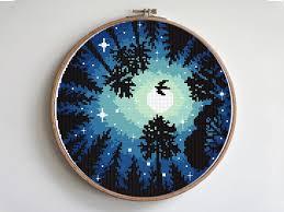 Watercolor Landscape Cross Stitch Pattern Night Starry