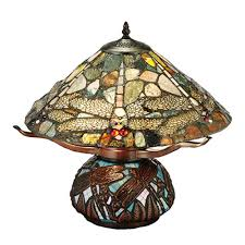 meyda 138103 dragonfly agate and stained glass table lamp