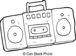 radio clipart black and white. cartoon radio cassette player clipart black and white