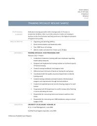 Training Specialist Resume Training Specialist Resume Samples Online Resume Builders
