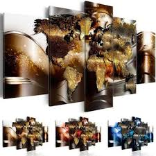 no frame canvas print modern abstract metal world map art pa
