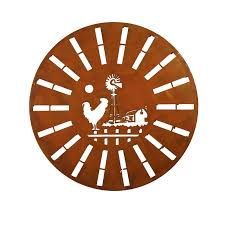 139 95 on large metal rooster wall art with laser cut circular rooster windmill wall art hanging rust 99cm