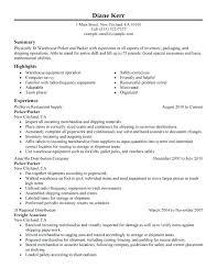 resume order of jobs order picker job description picker and packer resume sample