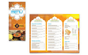 Take Out Menu Template Indian Restaurant Take Out Brochure Template Design