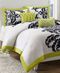 jla home mallorie 5 piece king comforter set green white black with