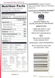 2 milk nutrition horizon 2 organic reduced fat milk nutrition facts 1 2 cup whole milk
