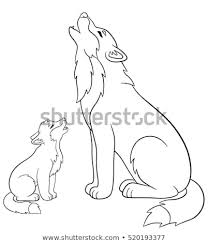 baby wolf howling drawing. Brilliant Wolf Father Wolf Howls With His Little Cute Baby For Baby Wolf Howling Drawing S