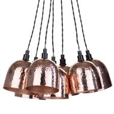 7 light cer ceiling pendant with hammered shades copper fast free delivery