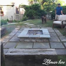 rock patio with fire pit inspirational diy stone patio fire pit wood beam benches lehman lane