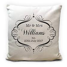 mr and mrs personalised wedding cushion er anniversary gift 16 inches 40cm amazon co uk handmade