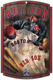 boston red sox uniforms cooperstown mlb vine wood sign 11x17