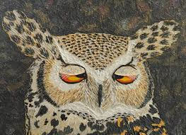 coffee impressionist horned owl impasto palette knife painting with texture painting by liza wheeler
