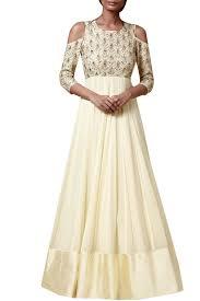 Off Shoulder Designer Suits Off White Cold Shoulder Designer Anarkali Suit