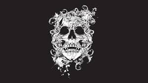 обои череп рисунок узоры тату Scull Black Tatto Decor арт