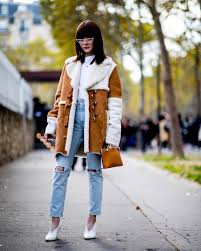 jeans ripped jeans white shoes high heel pumps leather jacket brown jacket white t shirt