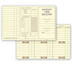 Weekly Time Record Abc Weekly Preprinted Record Time Cards Pocket Size Yellow 250 Cards