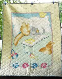 Vintage Baby Unisex Panel Quilt/Pre-quilted Fabric Panel Small ... & Vintage Baby Unisex Panel Quilt/Pre-quilted Fabric Panel Small Quilt/Crib  Quilt Adamdwight.com