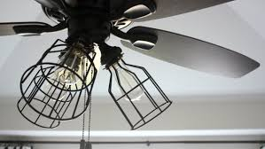 Lighting Industrial Outdoor Ceiling Fan With Style Cage Kit Look