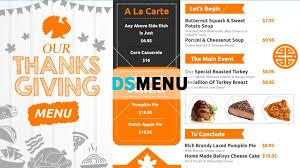 A La Carte Menu Template Thanks Giving Restaurant Menu Template For Digital Signage