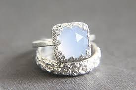 alternative to wedding ring. sale - vintage style chalcedony wedding ring set eco friendly engraved band \u0026 engagement alternative diamond to r