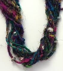 sari silk raw remnants as they come from mills yarn scarf pattern rag rug