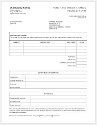 Purchase Order Change Request Forms Word Excel Templates
