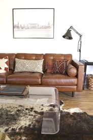 light brown leather couch camel leather sofa styling home living room cow hide rug living room