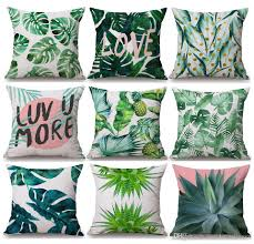 tropical plants green leaves cushion covers summer monstera banana palm leaf pineapple cactus cushion cover linen cotton pillow case patio cushion