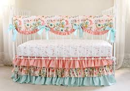 image of peach crib bedding